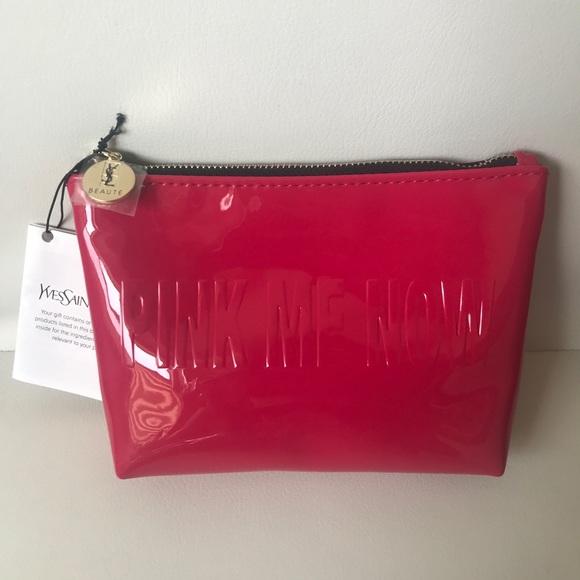1434bd57d3 YSL beaute Pink me now fuchsia patent makeup bag. NWT. Yves Saint Laurent